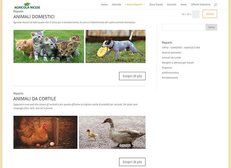 realizzazione sito web per negozio di vendita prodotti per l'agricoltura, orto e del giardinaggio