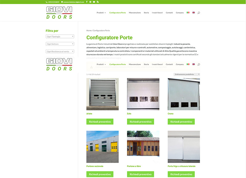 Realizzazione sito web per azienda specializzata nella produzione di porte industriali e di uso civile