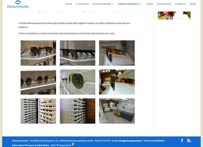 realizzazione sito web per negozio di ottica e servizi di optometria