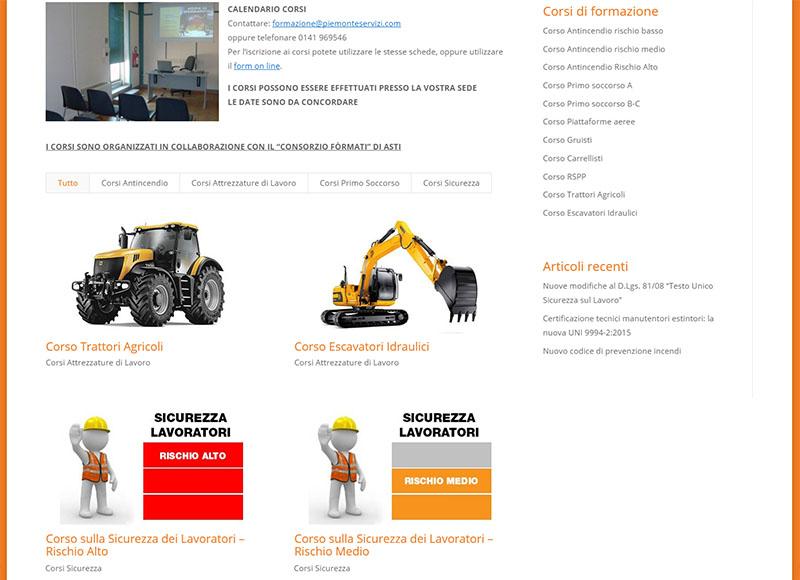 realizzazione sito web per società che opera nel settore dell'antincendio, sicurezza e prevenzione nei luoghi di lavoro