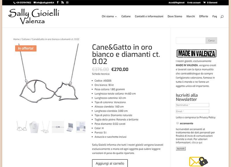 Realizzazione sito di e-commerce gioielli