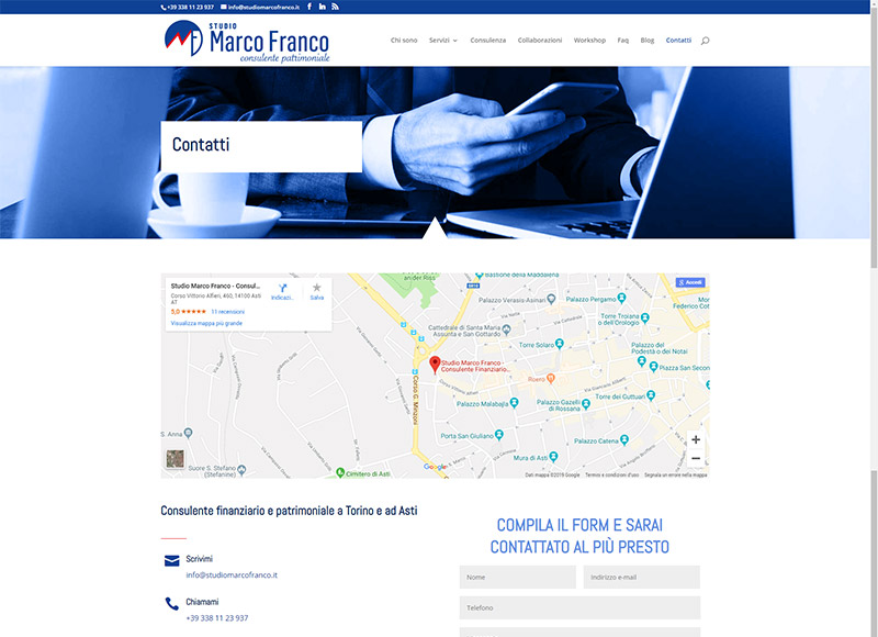 Realizzazione sito web per consulente finanziario e patrimoniale