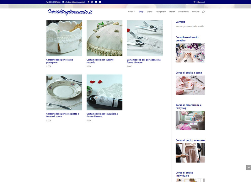 Realizzazione sito web per azienda specializzata in corsi di cucito professionale