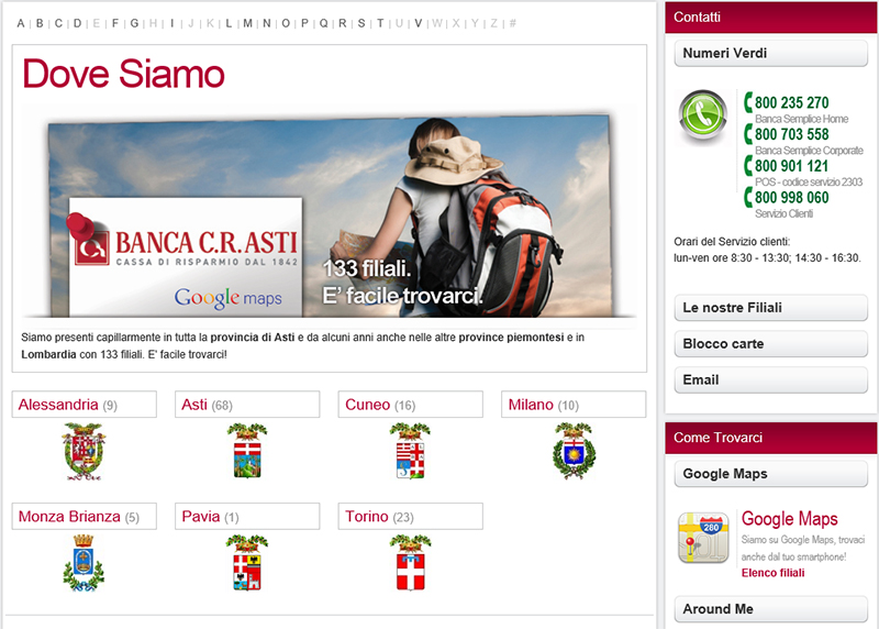 realizzazione sito web per banca