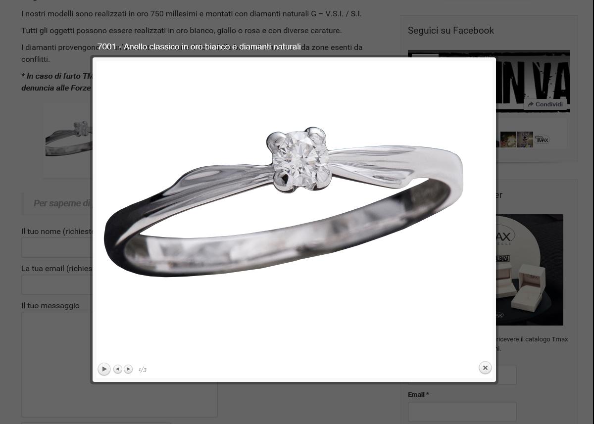 realizzazione sito web per marchio gioielli